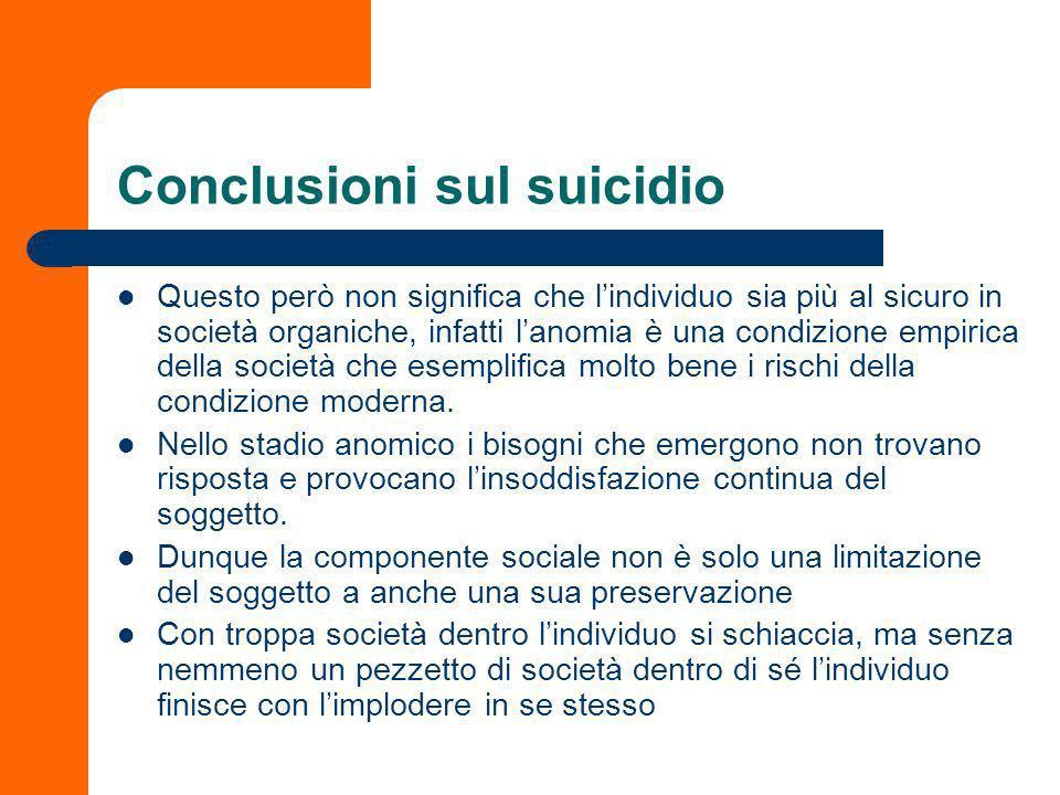 Conclusioni sul suicidio Ancora una volta troviamo esemplificata lidea dominante di Durkheim: lindividuo non è che una costruzione della società.