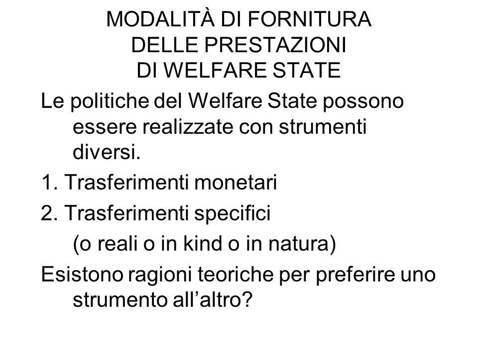 MODALITÀ DI FORNITURA DELLE PRESTAZIONI DI WELFARE STATE Le politiche del Welfare State possono essere realizzate con strumenti diversi. 1. Trasferime