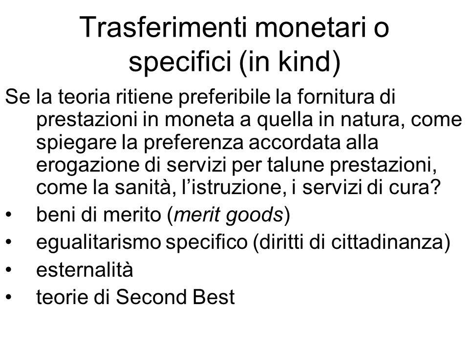 Trasferimenti monetari o specifici (in kind) Se la teoria ritiene preferibile la fornitura di prestazioni in moneta a quella in natura, come spiegare