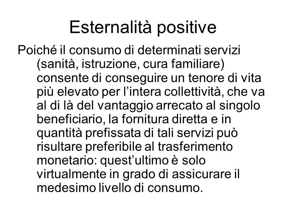 Esternalità positive Poiché il consumo di determinati servizi (sanità, istruzione, cura familiare) consente di conseguire un tenore di vita più elevat