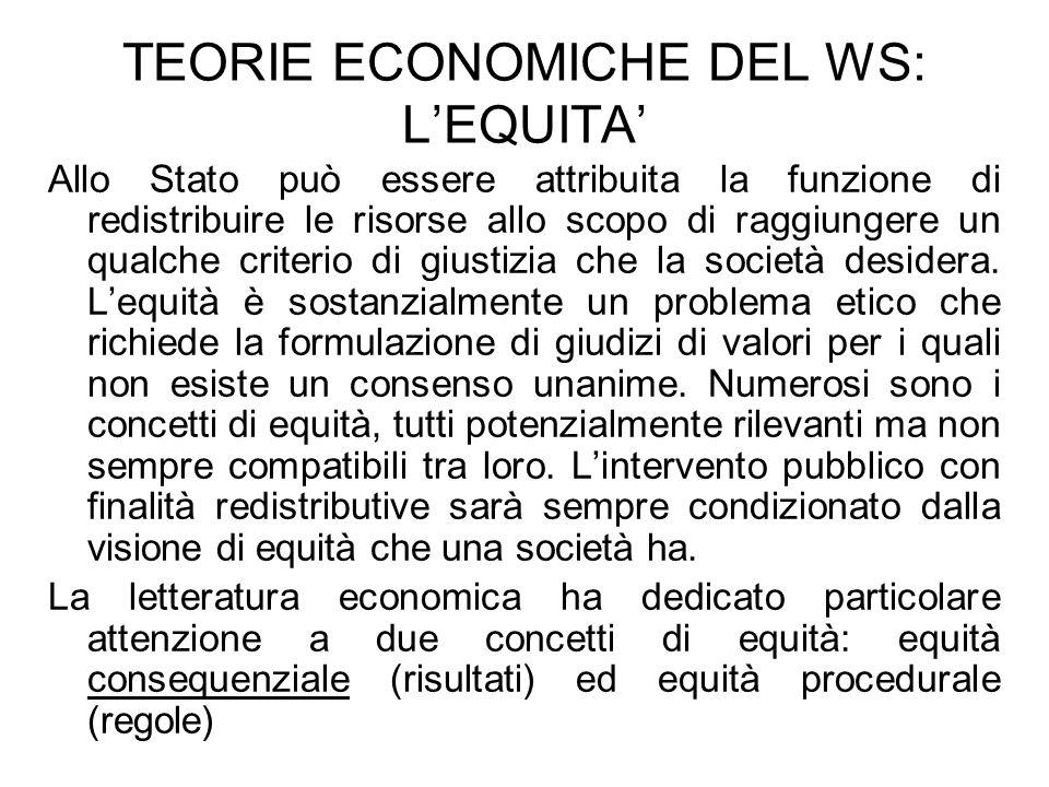TEORIE ECONOMICHE DEL WS: LEQUITA Allo Stato può essere attribuita la funzione di redistribuire le risorse allo scopo di raggiungere un qualche criter