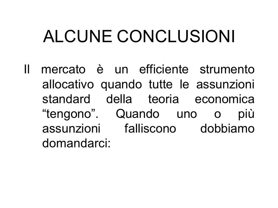 ALCUNE CONCLUSIONI Il mercato è un efficiente strumento allocativo quando tutte le assunzioni standard della teoria economica tengono. Quando uno o pi