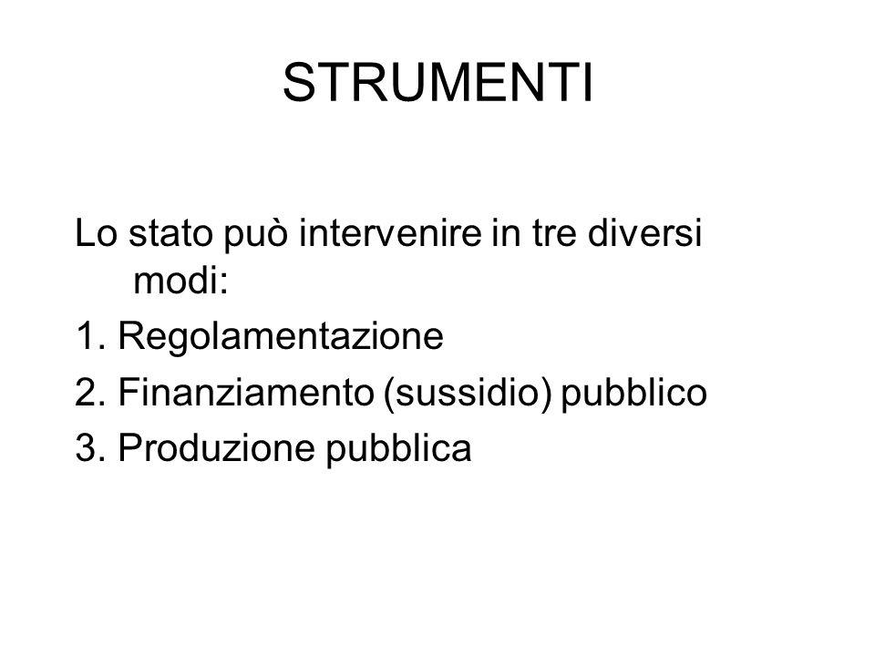 STRUMENTI Lo stato può intervenire in tre diversi modi: 1. Regolamentazione 2. Finanziamento (sussidio) pubblico 3. Produzione pubblica
