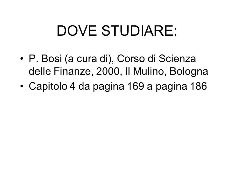 DOVE STUDIARE: P. Bosi (a cura di), Corso di Scienza delle Finanze, 2000, Il Mulino, Bologna Capitolo 4 da pagina 169 a pagina 186
