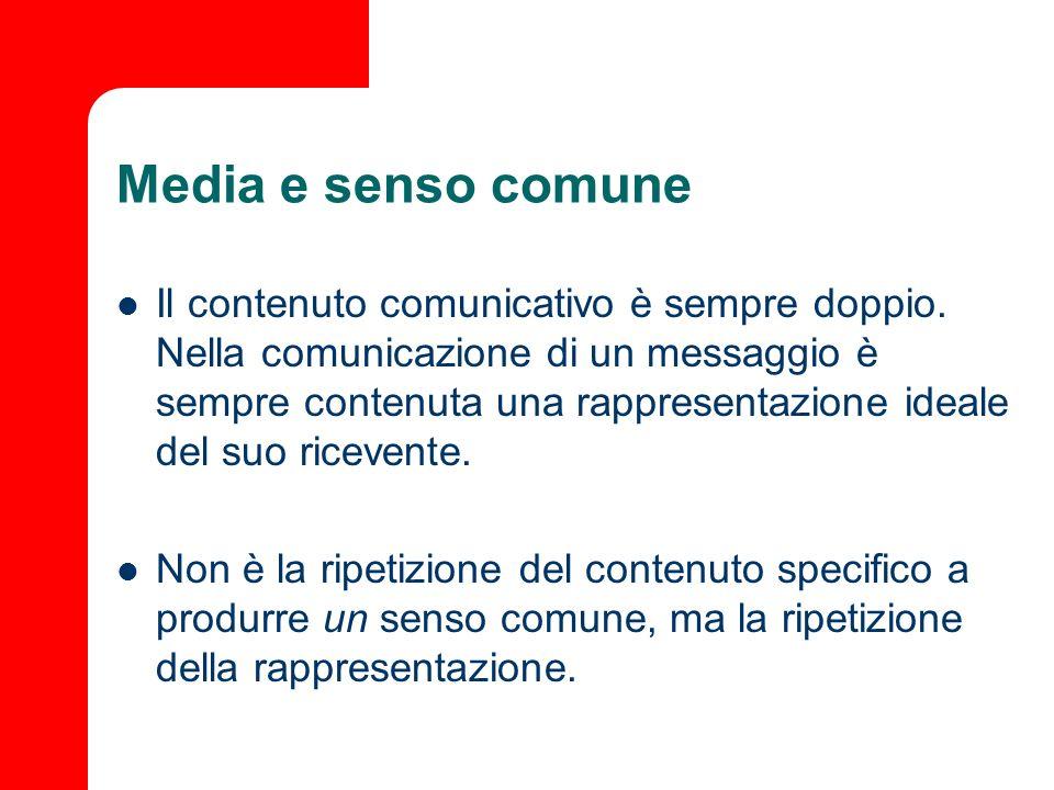Media e senso comune Il contenuto comunicativo è sempre doppio. Nella comunicazione di un messaggio è sempre contenuta una rappresentazione ideale del