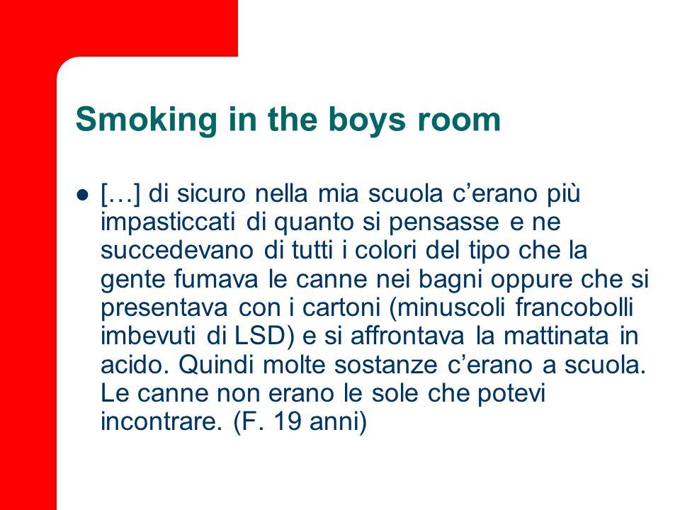 Smoking in the boys room […] di sicuro nella mia scuola cerano più impasticcati di quanto si pensasse e ne succedevano di tutti i colori del tipo che