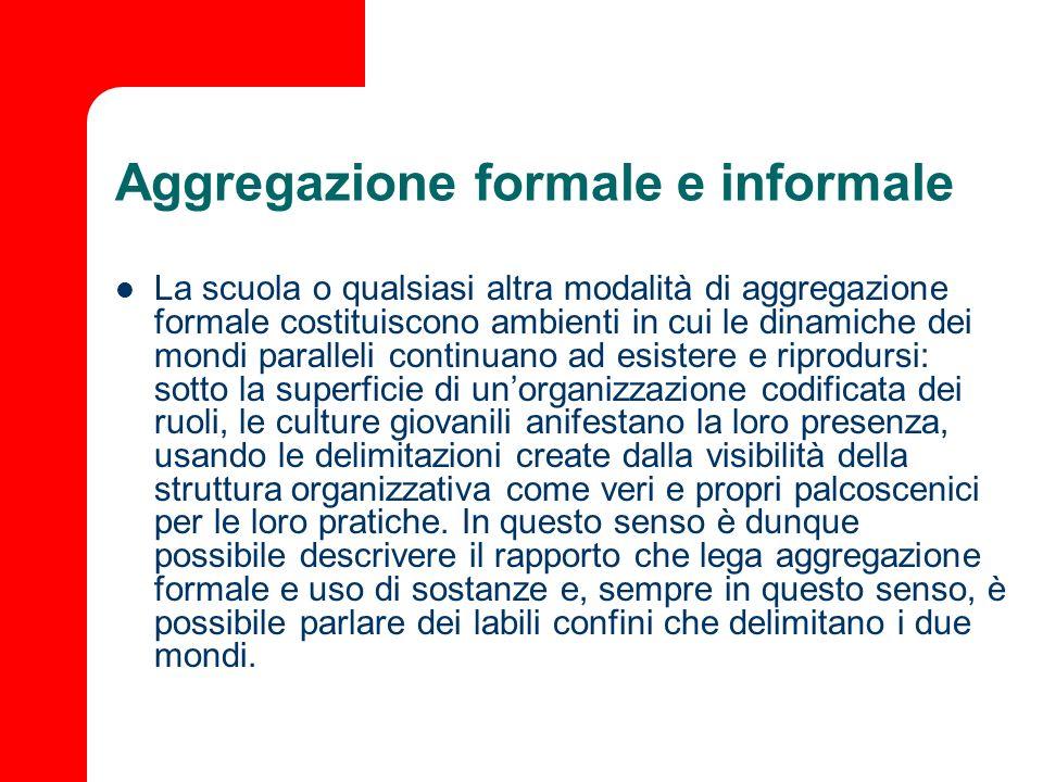 Aggregazione formale e informale La scuola o qualsiasi altra modalità di aggregazione formale costituiscono ambienti in cui le dinamiche dei mondi par