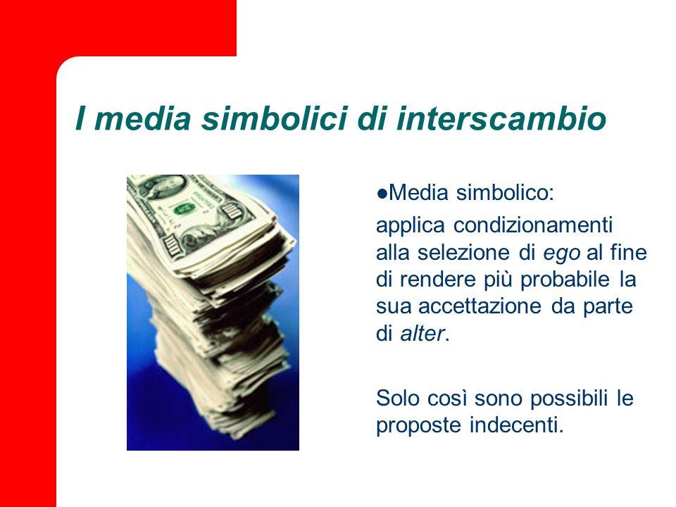 I media simbolici di interscambio Media simbolico: applica condizionamenti alla selezione di ego al fine di rendere più probabile la sua accettazione