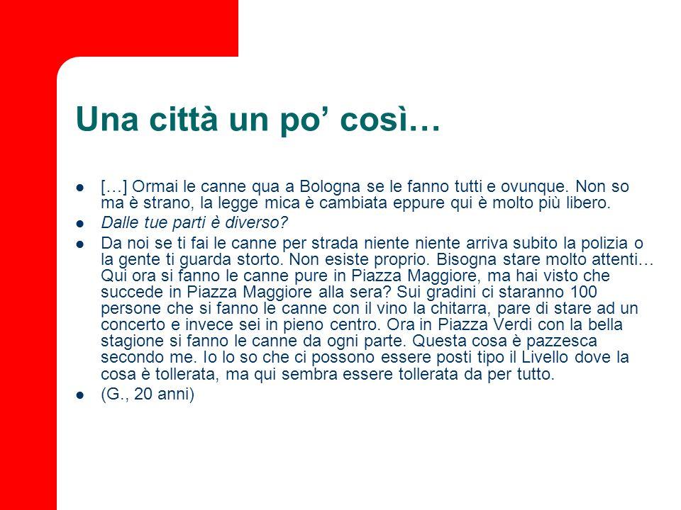 Una città un po così… […] Ormai le canne qua a Bologna se le fanno tutti e ovunque. Non so ma è strano, la legge mica è cambiata eppure qui è molto pi