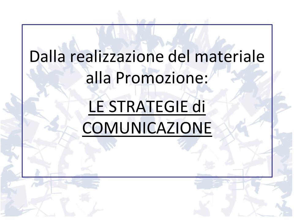 Dalla realizzazione del materiale alla Promozione: LE STRATEGIE di COMUNICAZIONE