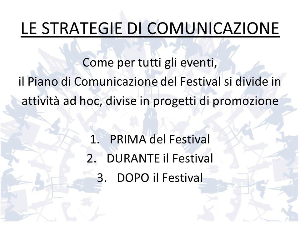 LE STRATEGIE DI COMUNICAZIONE Come per tutti gli eventi, il Piano di Comunicazione del Festival si divide in attività ad hoc, divise in progetti di pr