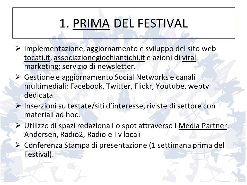 1. PRIMA DEL FESTIVAL Implementazione, aggiornamento e sviluppo del sito web tocati.it, associazionegiochiantichi.it e azioni di viral marketing; serv