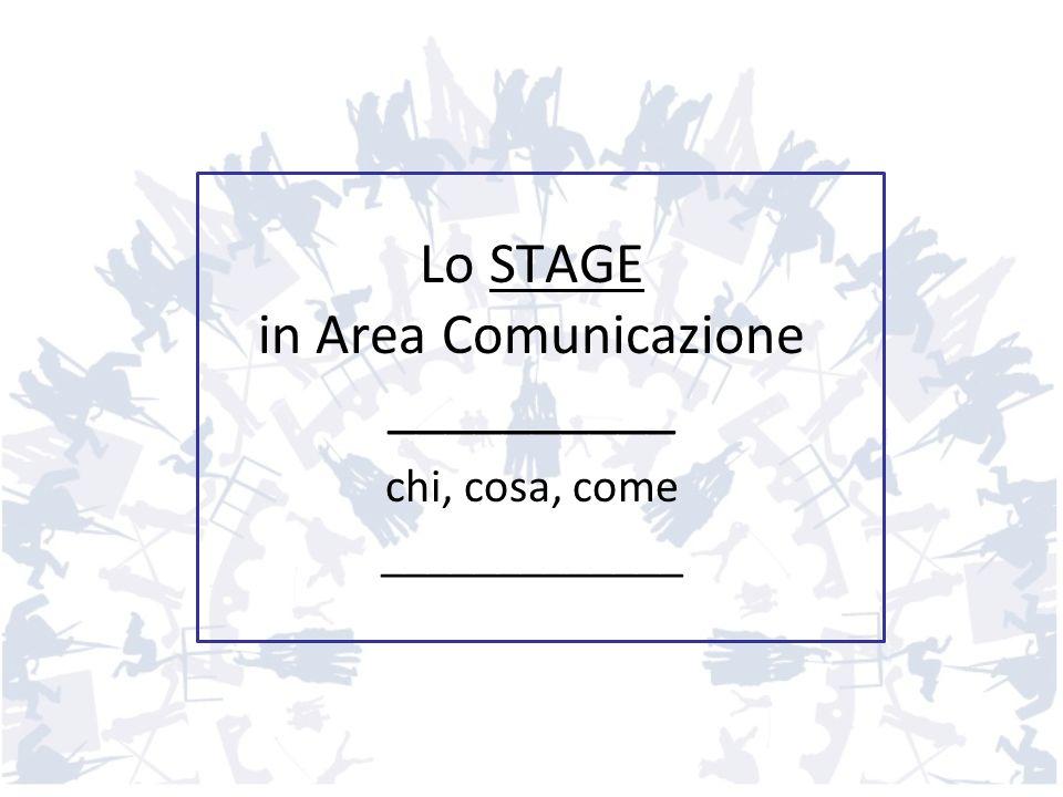 Lo STAGE in Area Comunicazione __________ chi, cosa, come _____________
