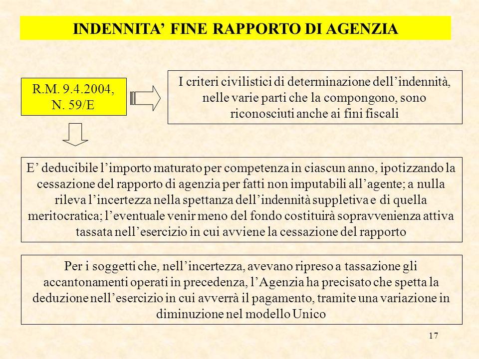 17 INDENNITA FINE RAPPORTO DI AGENZIA R.M. 9.4.2004, N. 59/E I criteri civilistici di determinazione dellindennità, nelle varie parti che la compongon