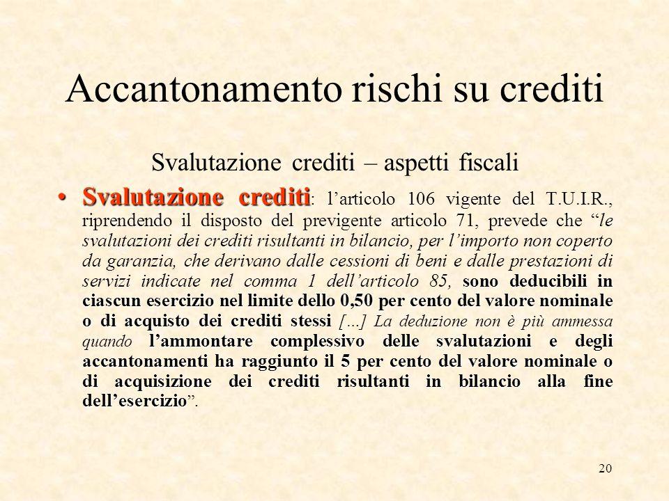 20 Accantonamento rischi su crediti Svalutazione crediti – aspetti fiscali Svalutazione crediti sono deducibili in ciascun esercizio nel limite dello