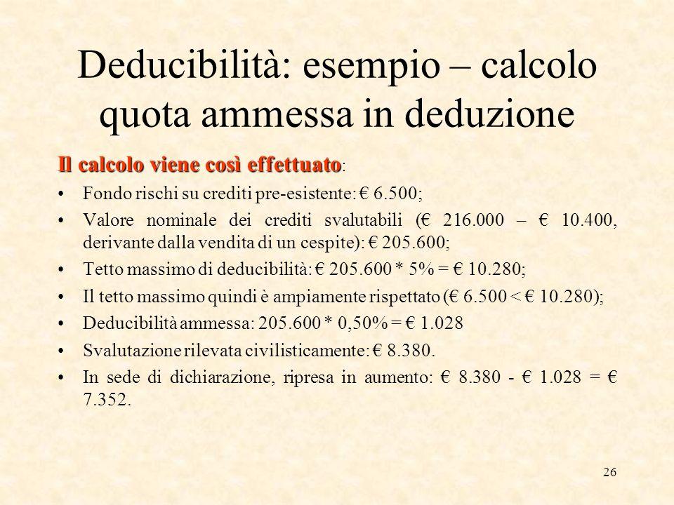 26 Deducibilità: esempio – calcolo quota ammessa in deduzione Il calcolo viene così effettuato Il calcolo viene così effettuato : Fondo rischi su cred