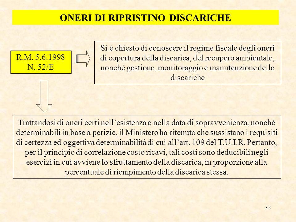 32 ONERI DI RIPRISTINO DISCARICHE R.M. 5.6.1998 N. 52/E Si è chiesto di conoscere il regime fiscale degli oneri di copertura della discarica, del recu
