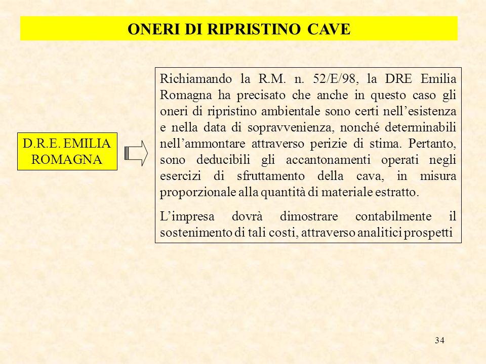 34 ONERI DI RIPRISTINO CAVE D.R.E. EMILIA ROMAGNA Richiamando la R.M. n. 52/E/98, la DRE Emilia Romagna ha precisato che anche in questo caso gli oner