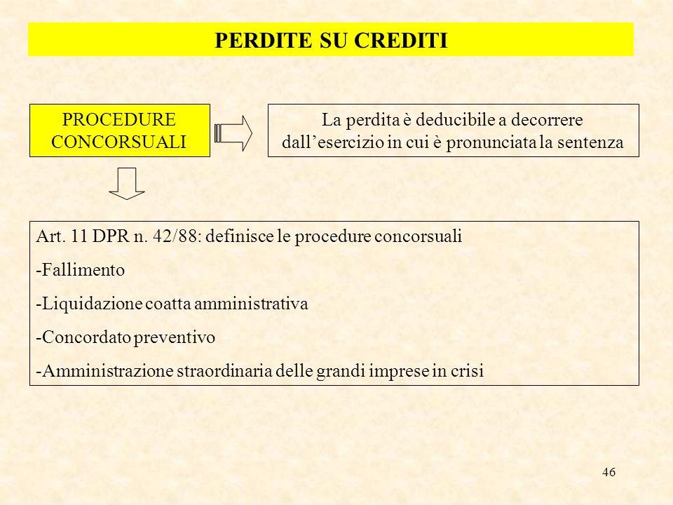 46 PERDITE SU CREDITI PROCEDURE CONCORSUALI La perdita è deducibile a decorrere dallesercizio in cui è pronunciata la sentenza Art. 11 DPR n. 42/88: d