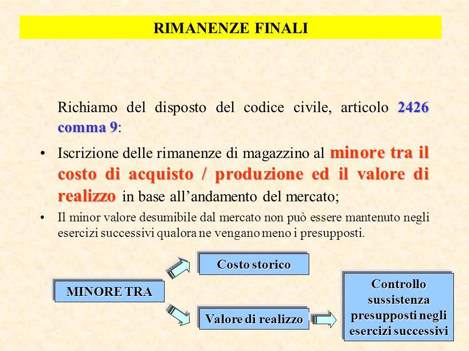 50 2426 comma 9 Richiamo del disposto del codice civile, articolo 2426 comma 9: minore tra il costo di acquisto / produzione ed il valore di realizzoI