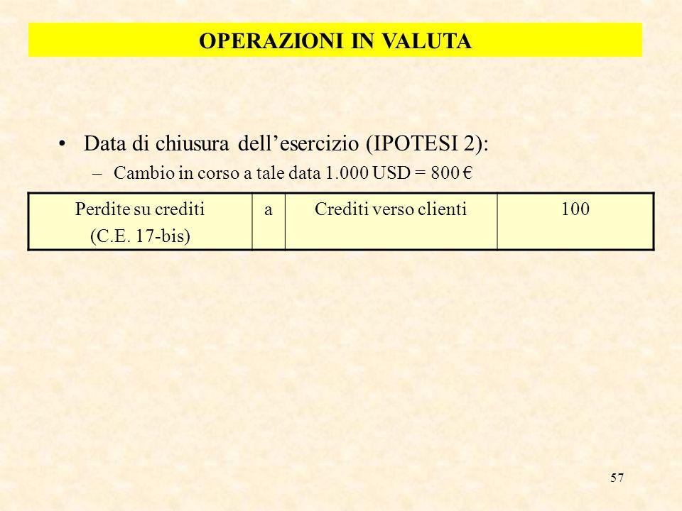 57 Data di chiusura dellesercizio (IPOTESI 2): –Cambio in corso a tale data 1.000 USD = 800 Perdite su crediti (C.E. 17-bis) aCrediti verso clienti100