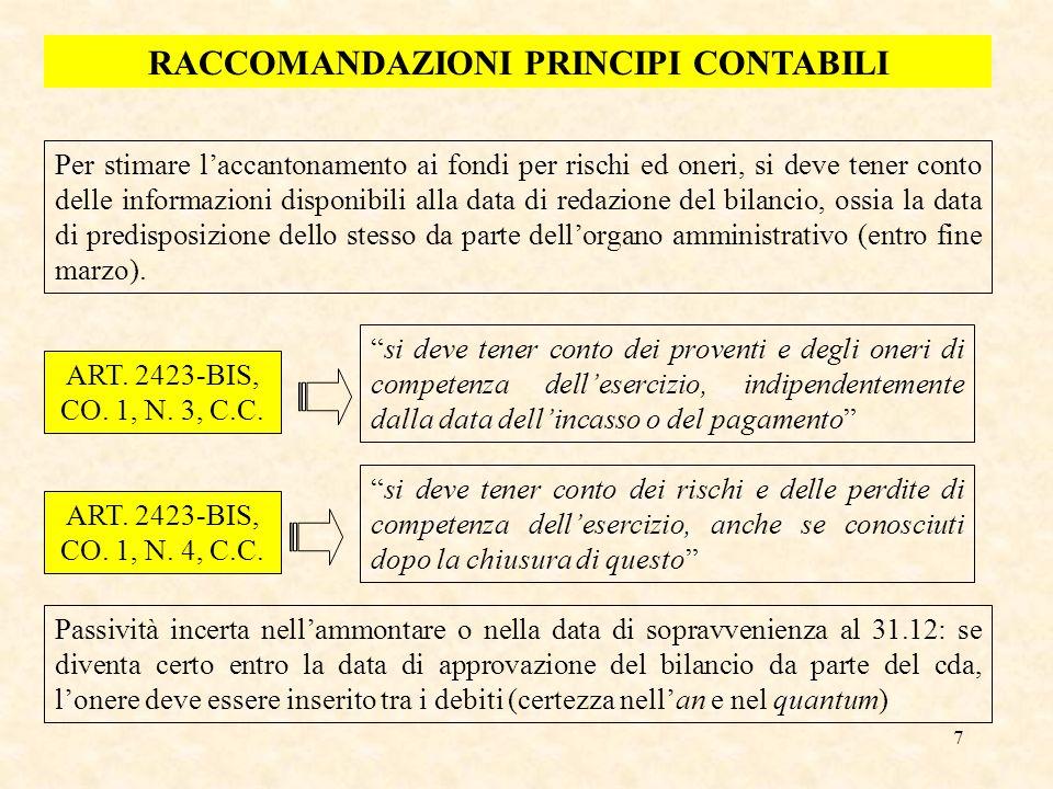 8 ALCUNI ESEMPI DI FONDI FONDI DI QUIESCENZA -Fondi di indennità per cessazione di rapporti di collaborazione coordinata e continuativa (es.