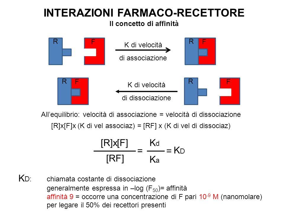 INTERAZIONI FARMACO-RECETTORE Il concetto di affinità R F K di velocità di associazione F R R F K di velocità di dissociazione F R Allequilibrio: velo