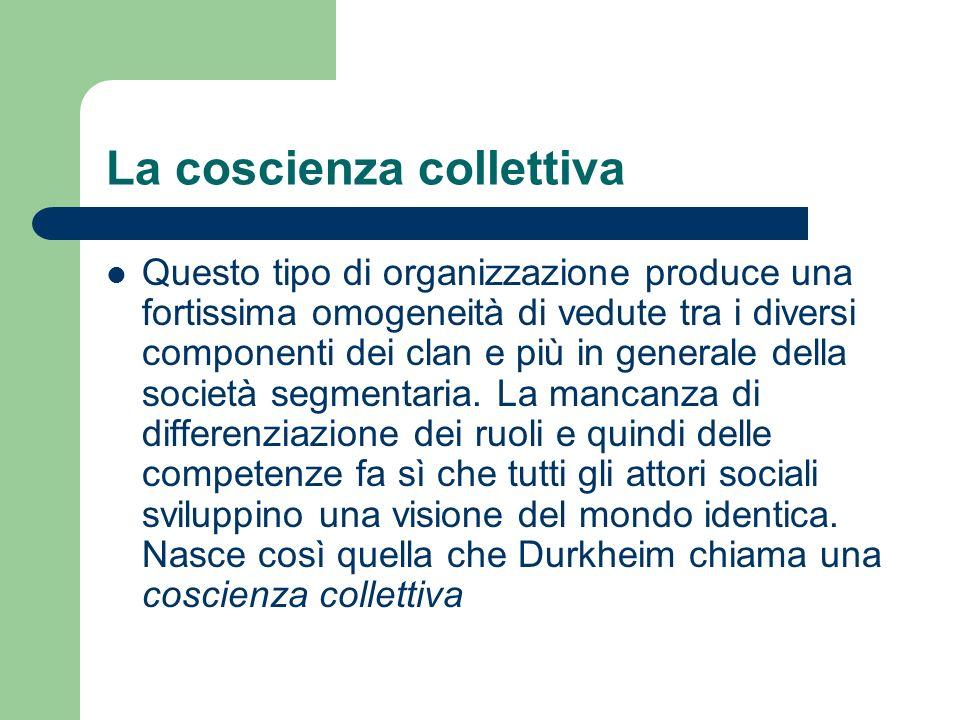 La coscienza collettiva Questo tipo di organizzazione produce una fortissima omogeneità di vedute tra i diversi componenti dei clan e più in generale