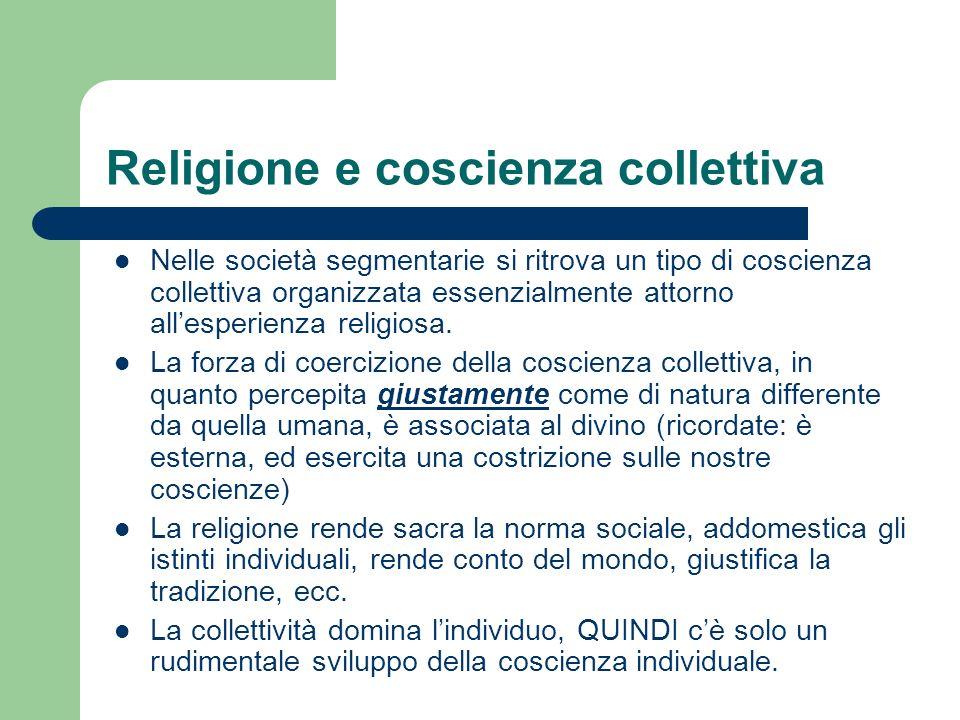Nelle società segmentarie si ritrova un tipo di coscienza collettiva organizzata essenzialmente attorno allesperienza religiosa. La forza di coercizio