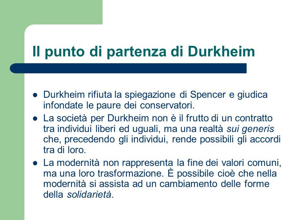 Il punto di partenza di Durkheim Durkheim rifiuta la spiegazione di Spencer e giudica infondate le paure dei conservatori. La società per Durkheim non