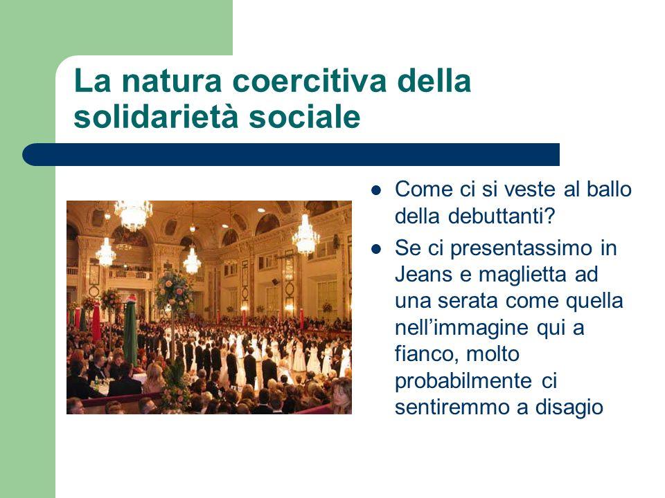 La natura coercitiva della solidarietà sociale Come ci si veste al ballo della debuttanti? Se ci presentassimo in Jeans e maglietta ad una serata come