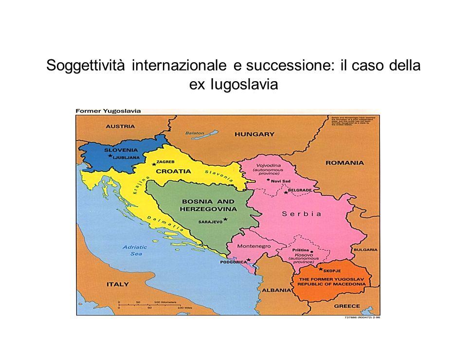 Soggettività internazionale e successione: il caso della ex Iugoslavia