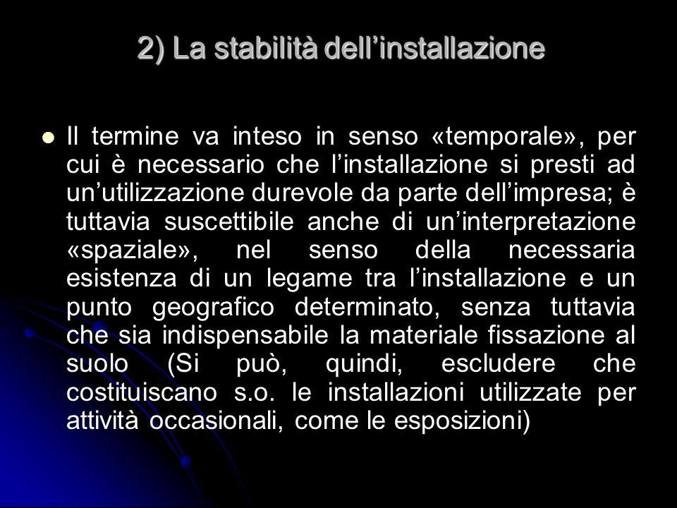 2) La stabilità dellinstallazione Il termine va inteso in senso «temporale», per cui è necessario che linstallazione si presti ad unutilizzazione dure
