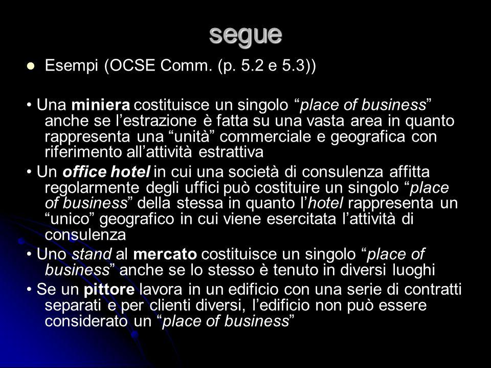 segue Esempi (OCSE Comm. (p. 5.2 e 5.3)) Una miniera costituisce un singolo place of business anche se lestrazione è fatta su una vasta area in quanto