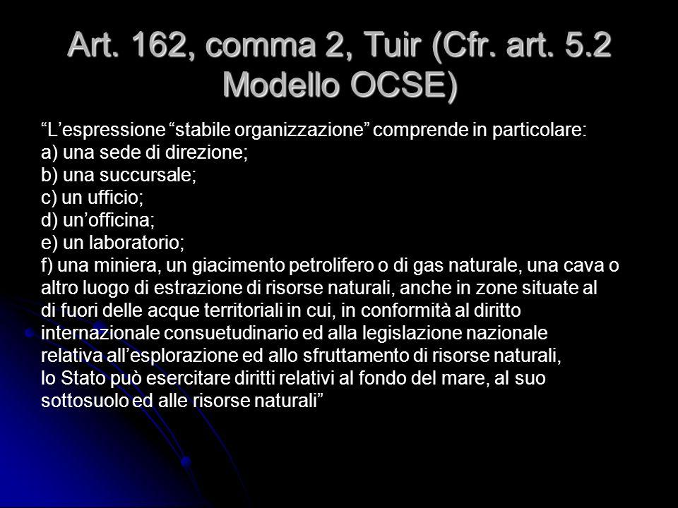 Art. 162, comma 2, Tuir (Cfr. art. 5.2 Modello OCSE) Lespressione stabile organizzazione comprende in particolare: a) una sede di direzione; b) una su
