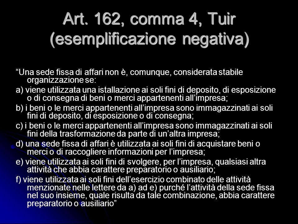 Art. 162, comma 4, Tuir (esemplificazione negativa) Una sede fissa di affari non è, comunque, considerata stabile organizzazione se: a) viene utilizza