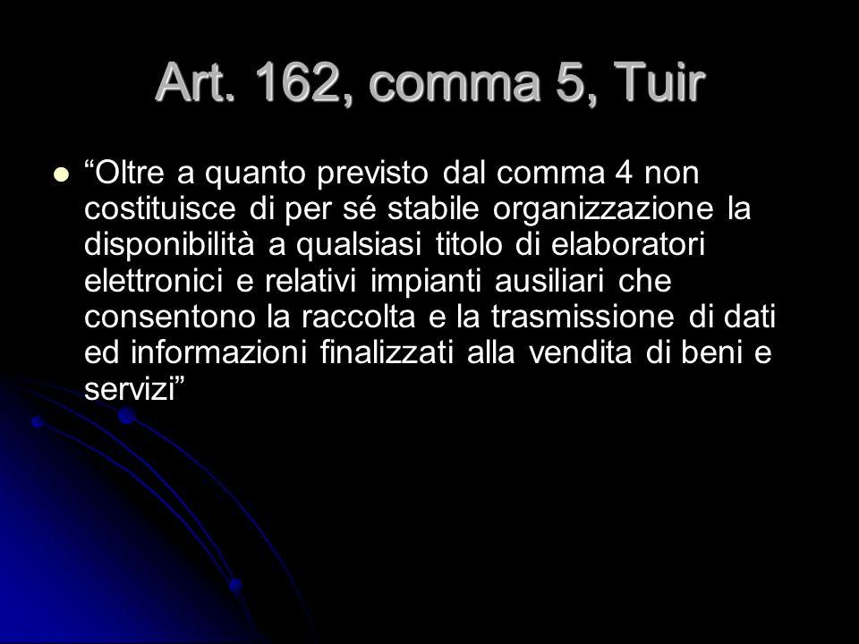 Art. 162, comma 5, Tuir Oltre a quanto previsto dal comma 4 non costituisce di per sé stabile organizzazione la disponibilità a qualsiasi titolo di el