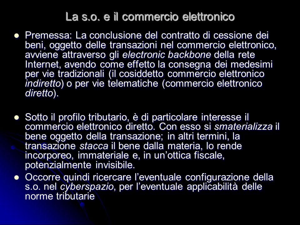 La s.o. e il commercio elettronico Premessa: La conclusione del contratto di cessione dei beni, oggetto delle transazioni nel commercio elettronico, a