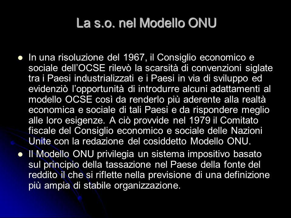 La s.o. nel Modello ONU In una risoluzione del 1967, il Consiglio economico e sociale dellOCSE rilevò la scarsità di convenzioni siglate tra i Paesi i