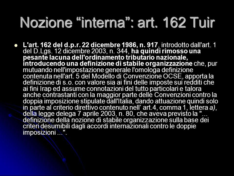 Nozione interna: art. 162 Tuir L'art. 162 del d.p.r. 22 dicembre 1986, n. 917, introdotto dall'art. 1 del D.Lgs. 12 dicembre 2003, n. 344, ha quindi r