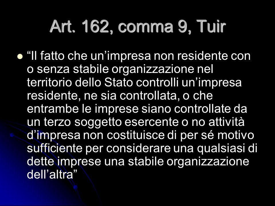 Art. 162, comma 9, Tuir Il fatto che unimpresa non residente con o senza stabile organizzazione nel territorio dello Stato controlli unimpresa residen