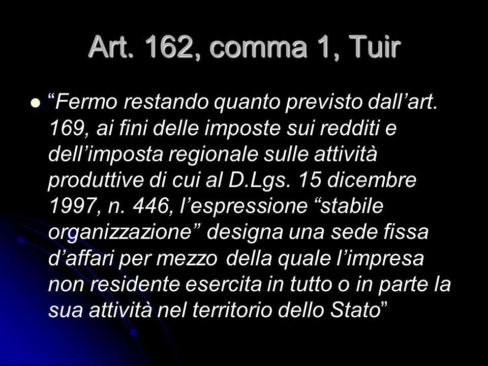 Art. 162, comma 1, Tuir Fermo restando quanto previsto dallart. 169, ai fini delle imposte sui redditi e dellimposta regionale sulle attività produtti