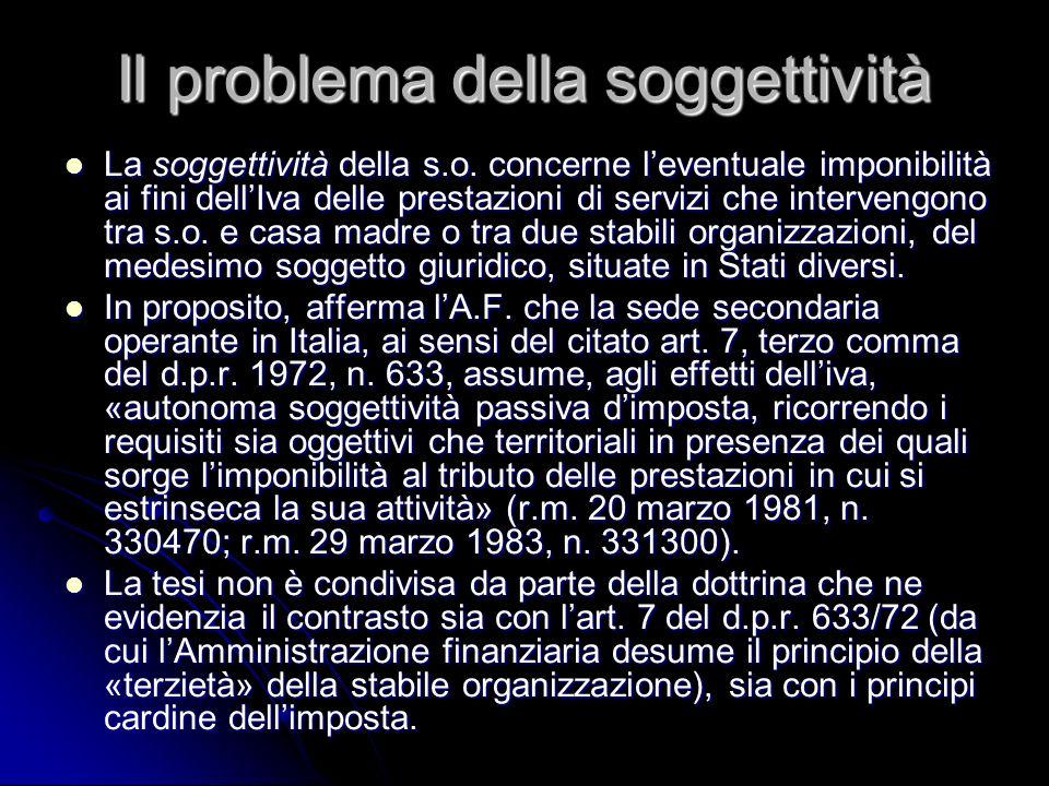 Il problema della soggettività La soggettività della s.o. concerne leventuale imponibilità ai fini dellIva delle prestazioni di servizi che intervengo