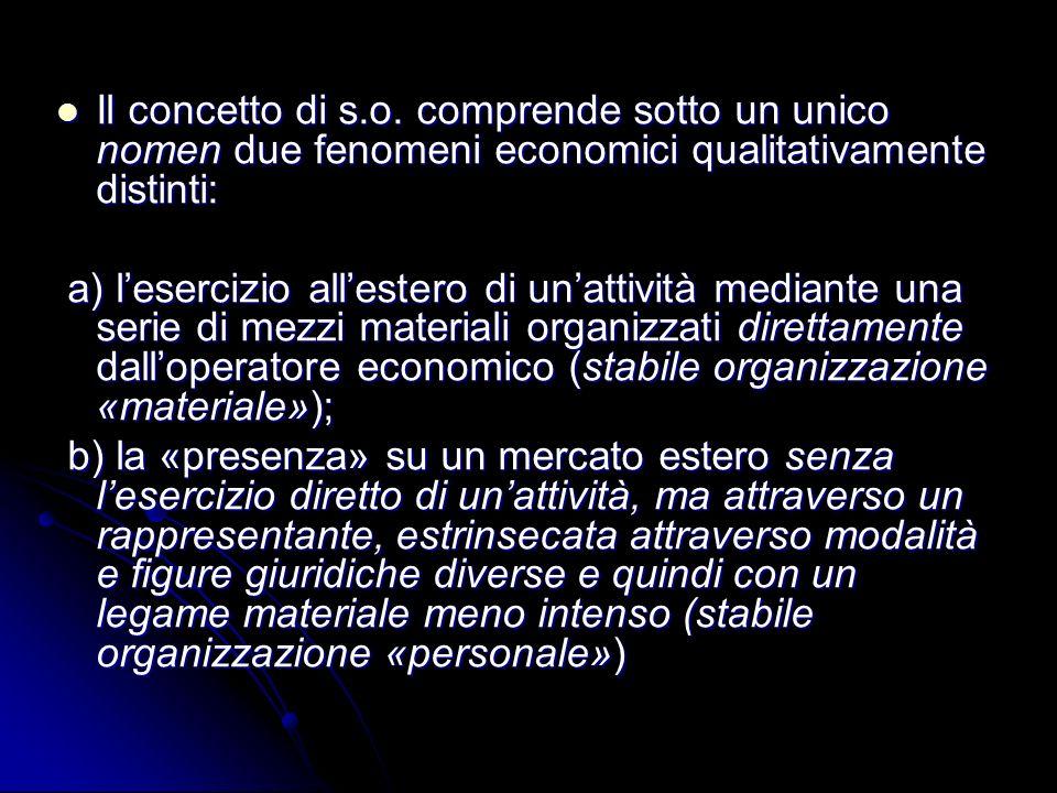 Il concetto di s.o. comprende sotto un unico nomen due fenomeni economici qualitativamente distinti: Il concetto di s.o. comprende sotto un unico nome