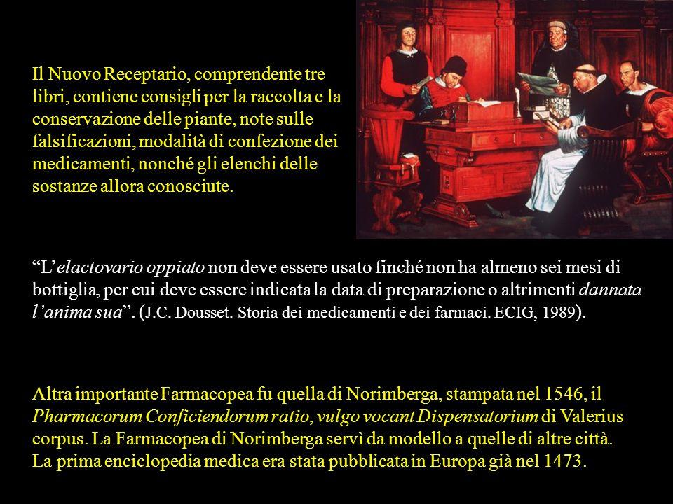 Con la nascita della stampa in Europa (XV sec.) compaiono numerose opere di terapia e si facilita la diffusione della cultura medica e farmaceutica. N