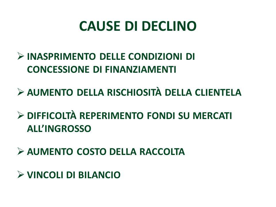 CAUSE DI DECLINO INASPRIMENTO DELLE CONDIZIONI DI CONCESSIONE DI FINANZIAMENTI AUMENTO DELLA RISCHIOSITÀ DELLA CLIENTELA DIFFICOLTÀ REPERIMENTO FONDI
