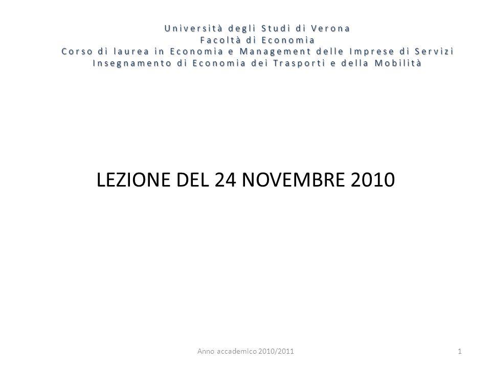 1 Università degli Studi di Verona Facoltà di Economia Corso di laurea in Economia e Management delle Imprese di Servizi Insegnamento di Economia dei Trasporti e della Mobilità Anno accademico 2010/2011 LEZIONE DEL 24 NOVEMBRE 2010