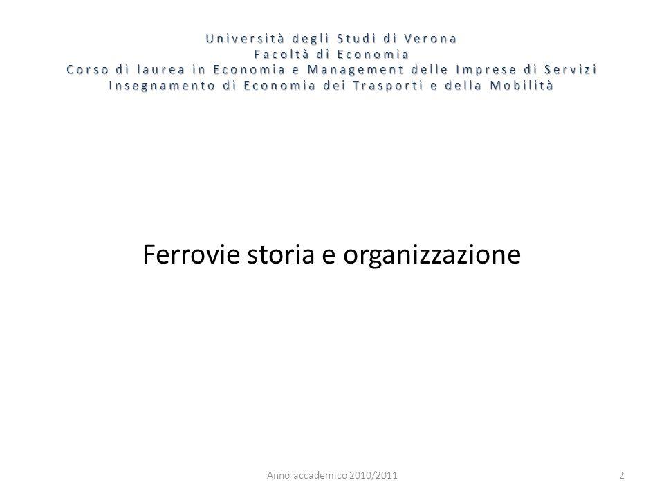 2 Università degli Studi di Verona Facoltà di Economia Corso di laurea in Economia e Management delle Imprese di Servizi Insegnamento di Economia dei Trasporti e della Mobilità Anno accademico 2010/2011 Ferrovie storia e organizzazione