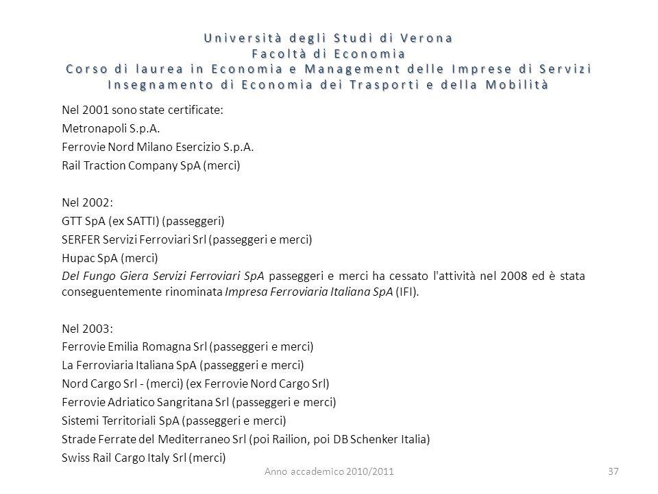 37 Università degli Studi di Verona Facoltà di Economia Corso di laurea in Economia e Management delle Imprese di Servizi Insegnamento di Economia dei Trasporti e della Mobilità Anno accademico 2010/2011 Nel 2001 sono state certificate: Metronapoli S.p.A.