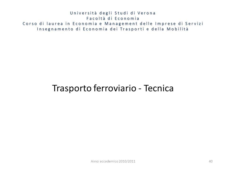 40 Università degli Studi di Verona Facoltà di Economia Corso di laurea in Economia e Management delle Imprese di Servizi Insegnamento di Economia dei Trasporti e della Mobilità Anno accademico 2010/2011 Trasporto ferroviario - Tecnica